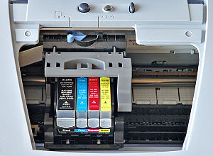 Inkjet printing - A Canon inkjet with CMYK cartridges