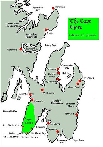 Cape Shore - Cape Shore (in green), on the southeastern shore of Placentia Bay and the southwestern shore of St. Mary's Bay.  St. John's, the provincial capital, is approximately 160 km to the northeast