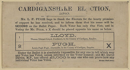 "A British ""how to vote"" card from 1880 Cardiganshire Election ballot paper 1880.jpg"
