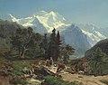 Carl Schweich - Viehtreiber auf einer Brücke in alpiner Landschaft (1854).jpg