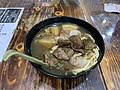 Cart noodle soup with beef jelly, fish dumplings, pork jelly and vegetables.jpg