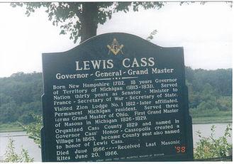 Cassopolis, Michigan - Lewis Cass historical marker in Cassopolis, Michigan