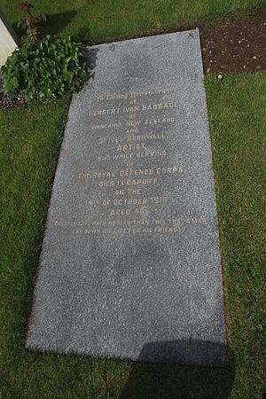 Benjamin Herschel Babbage - Grave of Herbert Ivan Babbage in Cathays Cemetery, Cardiff, Wales