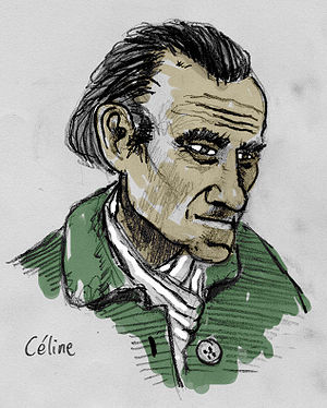 Drawing. The french writer Louis-Ferdinand Céline