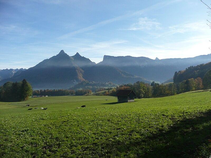 File:Château de Gruyères from Le Pâquier-Montbarry (Le Pâquier (Fribourg)) (autumn) 6.JPG