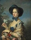 Tableau d'une femme en robe printanière, avec chapeau et bouquet à la main.