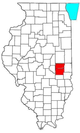 Charleston–Mattoon, IL Micropolitan Statistical Area - Location of the Charleston–Mattoon Micropolitan Statistical Area in Illinois