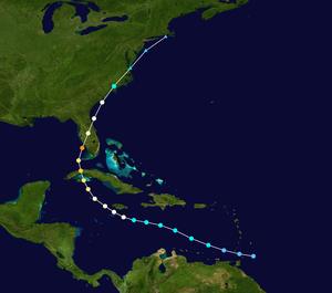 Effects of Hurricane Charley in Jamaica - Track of Hurricane Charley