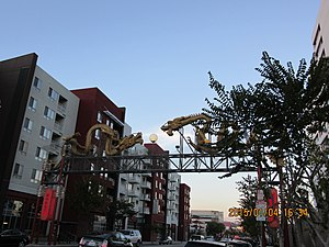 Chinatowns in the United States - The entrance arch at the Los Angeles's Chinatown