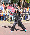 Chinese women shows kung fu in Heenvliet.jpg