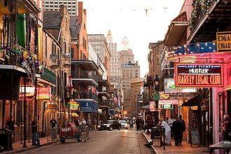 Bourbon Street - Looking up Bourbon Street toward the Central Business District (CBD).