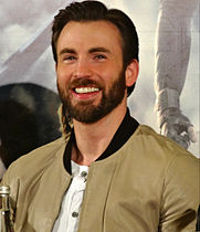 Evans at a press conference for Captain America: The Winter Soldier, 2014