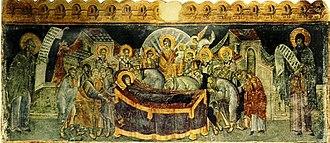 "Veria - ""Dormition"" fresco (1315) by Georgios Kalliergis in the Church of the Resurrection"