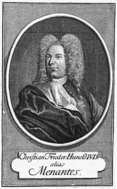 black-and-white engraving of the bust of a man with a large wig of curly hair, a long nose and a prominent chin, looking half-left, with his name and his pen name below