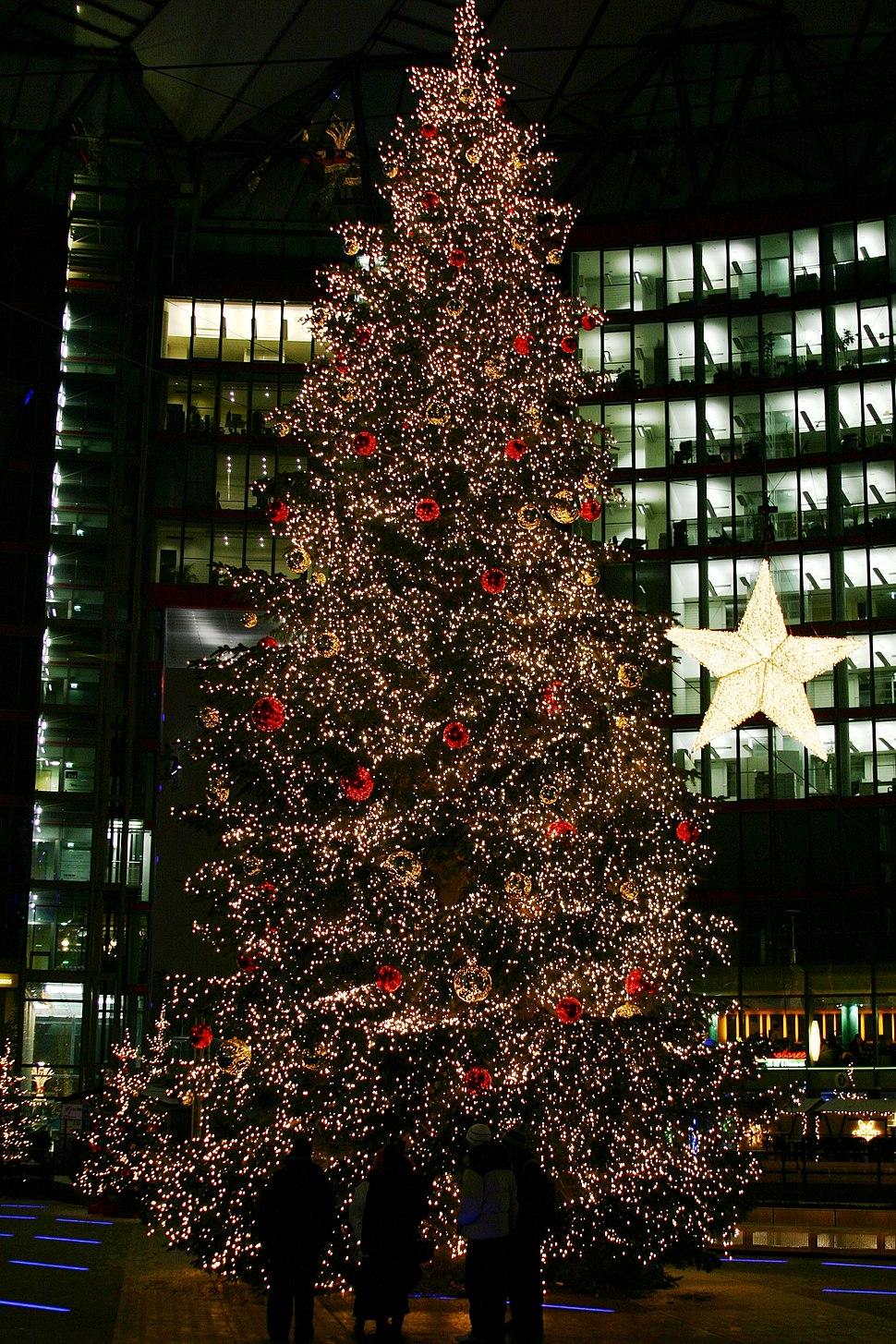 Christmas tree on the Potsdamer Platz (Sony Center) in Berlin, Germany