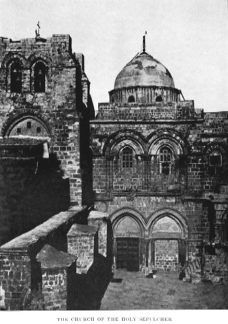 Immovable Ladder - Church of the Holy Sepulchre in 1885. The Immovable Ladder is visible below the upper-right window. (A different ladder is silhouetted against the dome.)