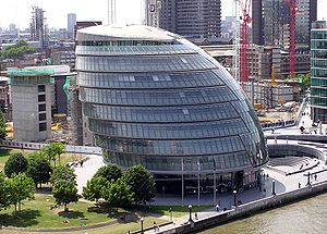 More London - City Hall, showing the rest of the More London Development under construction in the background