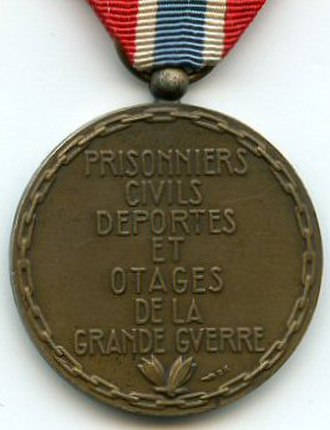 Medal for civilian prisoners, deportees and hostages of the 1914-1918 Great War - Reverse of the Medal for civilian prisoners, deportees and hostages of the 1914-1918 Great War