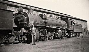 South African Class MC1 2-6-6-0 - SAR Class MC1 with engine driver Mr. Kok, c. 1930