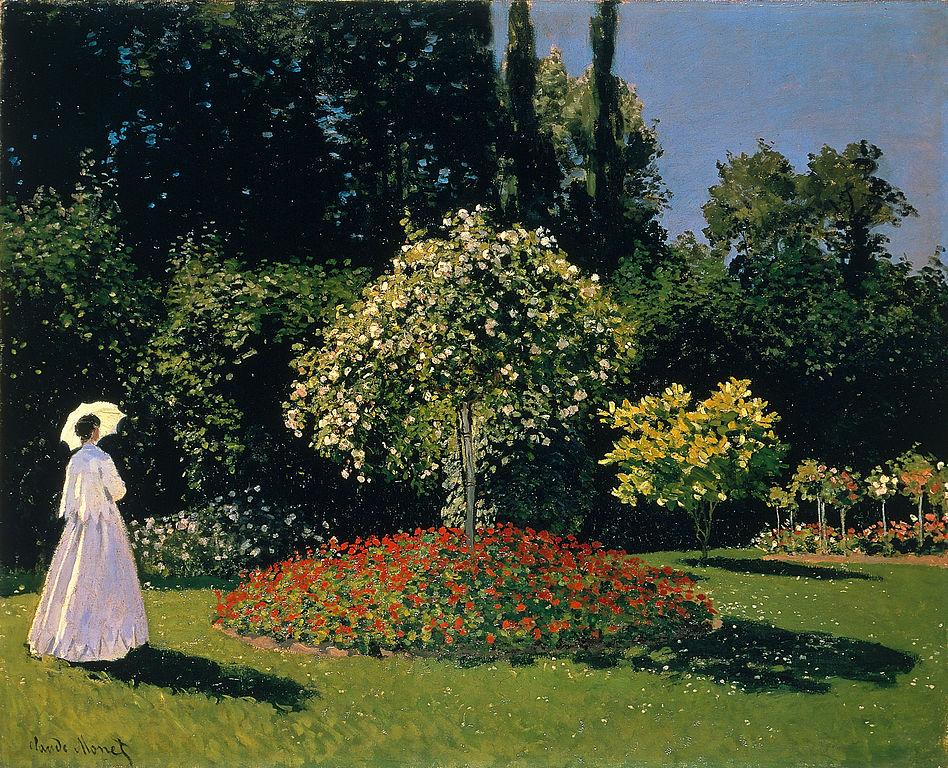 « Femme au jardin » de Claude Monet, représentant Jeanne-Marguerite Lecadre dans le jardin Sainte-Adresse au musée de l'Ermitage à Saint Petersbourg.