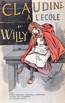 First edition cover of claudine à l'école with willy as author