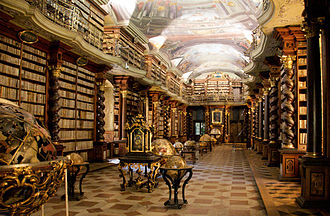 Charles University - Baroque library hall in Clementinum, which originally belonged to the university, today part of Czech National Library