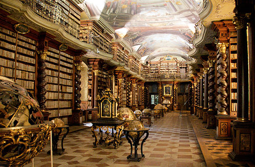 Baroque library hall in Clementinum, which originally belonged to the university, today part of Czech National Library