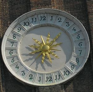 24-hour clock - The 24 hour tower clock in Venice that lists hours 1 to 12 twice