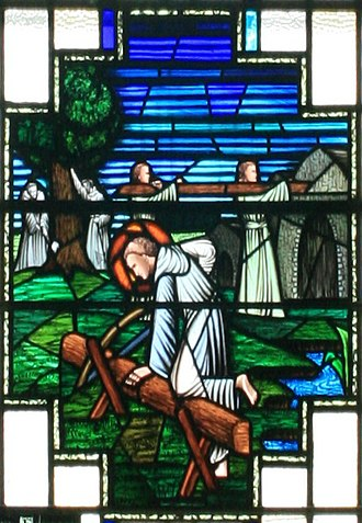 Clonard Abbey - The construction of the monastery in a stained glass window of the church of St. Finian in Clonard