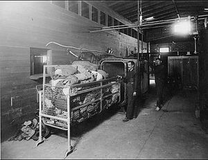 1917 Bath Riots - Clothing being readied for steam de-lousing at the El Paso disinfection plant of the US Immigration Station
