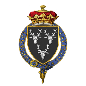 Edward Cavendish, 10th Duke of Devonshire - Coat of arms of Edward Cavendish, 10th Duke of Devonshire, KG, as displayed on his Order of the Garter stall plate in St. George's Chapel.