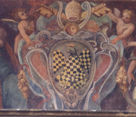 "Coat of arms of Pope Innocent III, in the ""Palazzo del Commendatore"" Coat of arms of Innocent III.png"