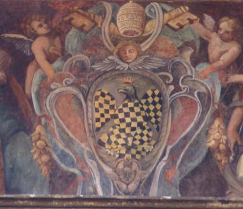 "Painting of the coat of arms of Pope Innocent III, in the ""Palazzo del Commendatore"", part of the Hospital of the Holy Spirit in Sassia, Rome. Coat of arms of Innocent III.png"