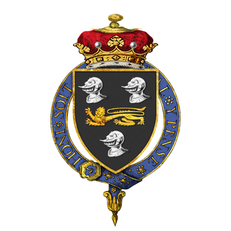 William Compton, 4th Marquess of Northampton - Garter encircled shield of arms of Admiral William Compton, 4th Marquess of Northampton, KG, as displayed on his Order of the Garter stall plate in St. George's Chapel, viz. Sable a lion passant guardant or, between three esquires' helmets argent (Compton).