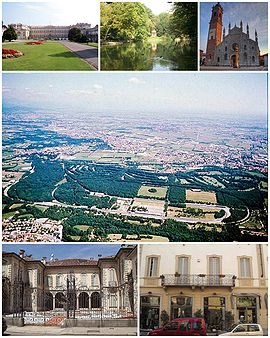 A collage showing different features of the city of Monza. Top left: Villa Reale Palace, Top middle: Garden in Monza Park, Top right: Monza Cathedral, Centre: Aerial view of Autodromo Nazionale Monza Circuit, Bottom left: Villa Bossi Prata, Bottom right: A shopping area of Via Vittoria Emanuele II