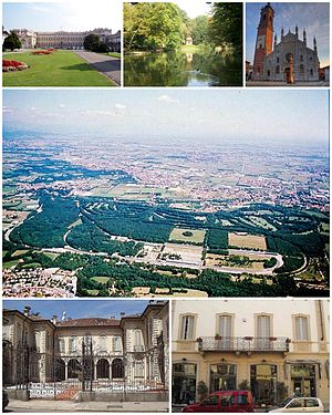 Monza - A collage showing different features of the city of Monza. Top left: Villa Reale Palace, Top middle: Garden in Monza Park, Top right: Monza Cathedral, Centre: Aerial view of Autodromo Nazionale Monza Circuit, Bottom left: Villa Bossi Prata, Bottom right: A shopping area of Via Vittorio Emanuele II