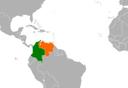 Map indicating locations of Colombia and Venezuela