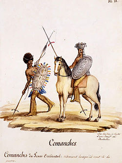 Two Comanches are depicted, each holding a spear and shield. The first, standing, looks to his proper left at the other mounted on a horse.