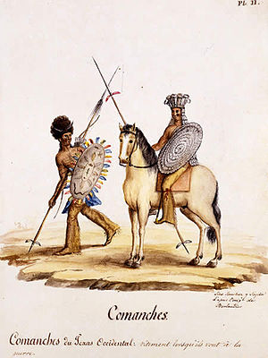 Texas–Indian wars - Comanches of West Texas in war regalia, c. 1830.