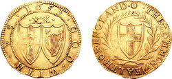 Photo of a 1653 gold Unite coin