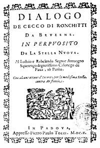 Dialogo de Cecco da Ronchitti da Bruzene in perpuosito de la stella Nova cover