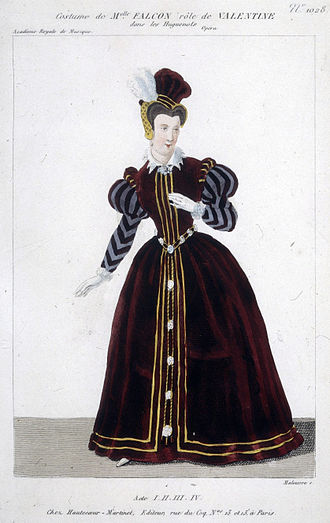 Cornélie Falcon - Costume design for Falcon as Valentine in Acts 1, 2, 3 and 4 of Meyerbeer's LesHuguenots
