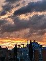 Coucher de soleil au dessus de l'entrée principale de l'usine de Pamiers (Aubert et Duval).jpg