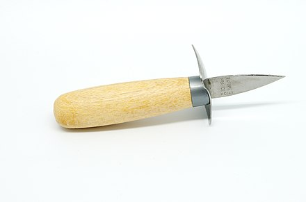 Special knives for opening live oysters, such as this one, have short and stout blades. Couteau a huitre - cote.jpg