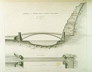 Craigellachie Bridge - Illustration of the bridge from the 1838 Atlas to the Life of Thomas Telford.
