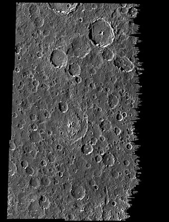 Callisto (moon) - Galileo image of cratered plains, illustrating the pervasive local smoothing of Callisto's surface