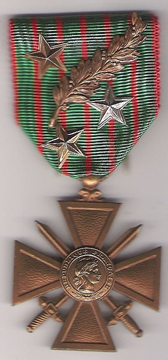 Mentioned in dispatches - Example of a Croix de guerre (the one of Col. Brébant) with four acknowledgments: 1 bronze palm 1 silver gilt star 1 silver star 1 bronze star