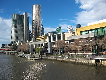 The Crown Casino and Entertainment Complex contributes AU$2 billion to the Victorian economy annually. Crown Casino Complex Melbourne 20180723-002.jpg