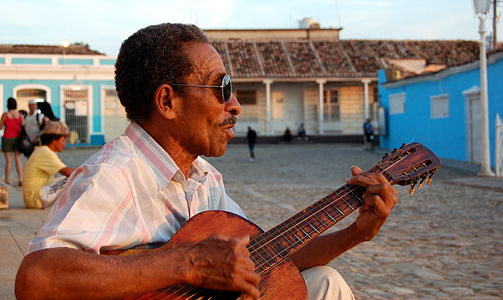 Cuban musician at main square in Trinidad
