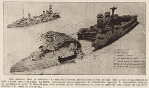 French battleship Liberté - An illustration showing the extent of the damage to Liberté